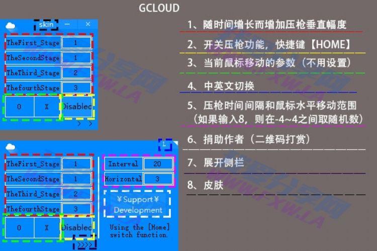 支持各类FPS游戏压枪工具软件GCloud